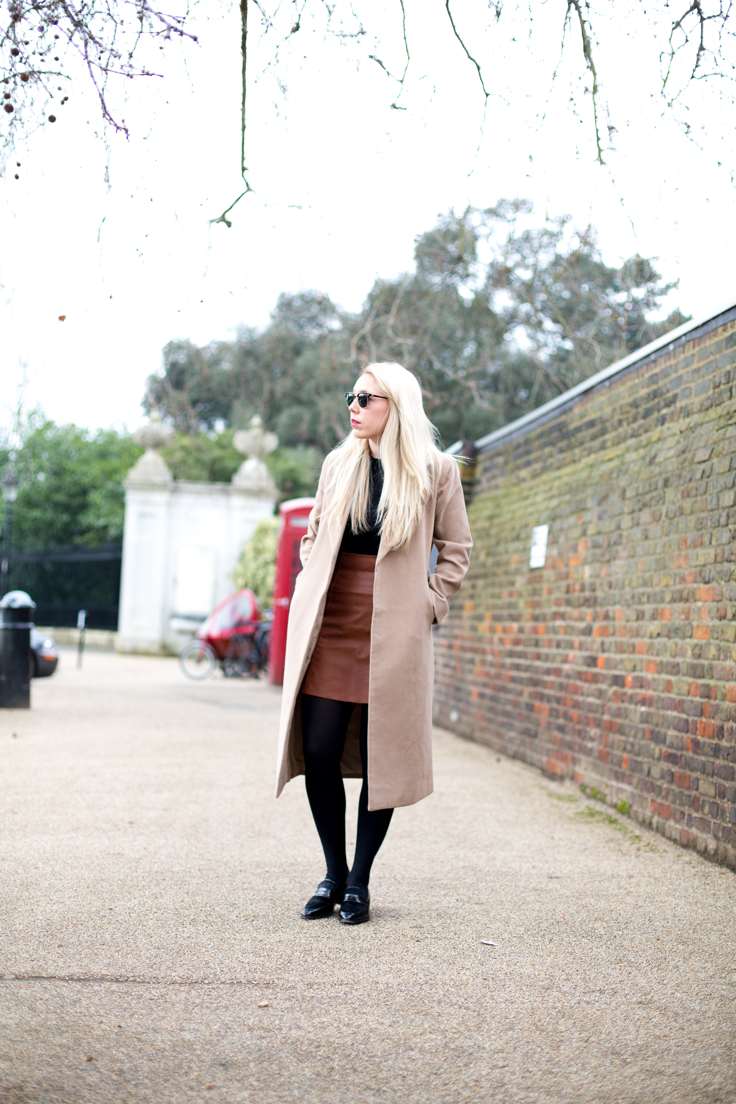 LEATHER SKIRT AND CAMEL COAT