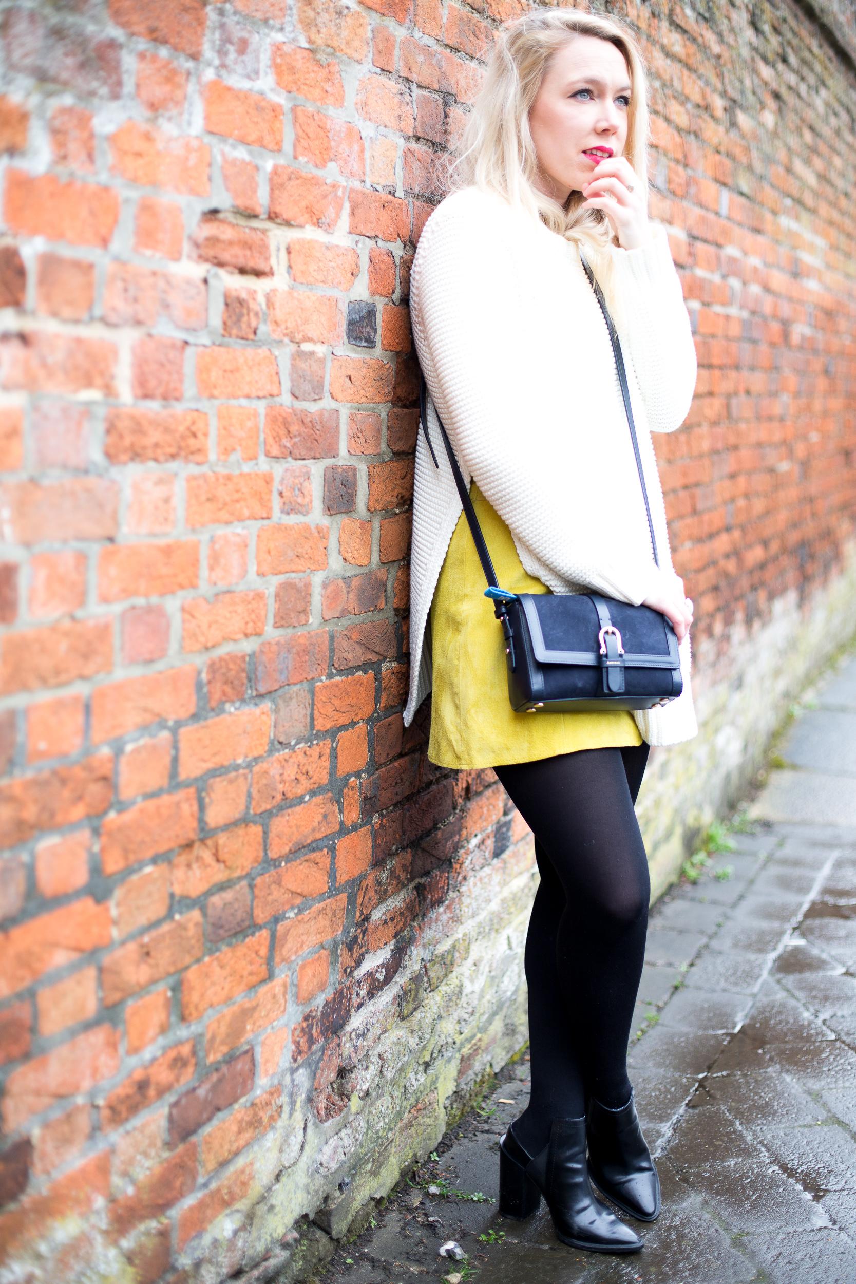Sunshine Yellow Suede Skirt Mediamarmalade