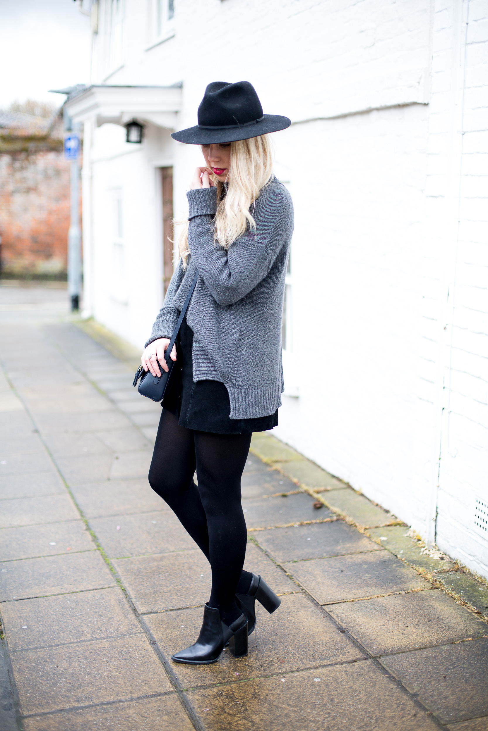Black Suede Button Skirt