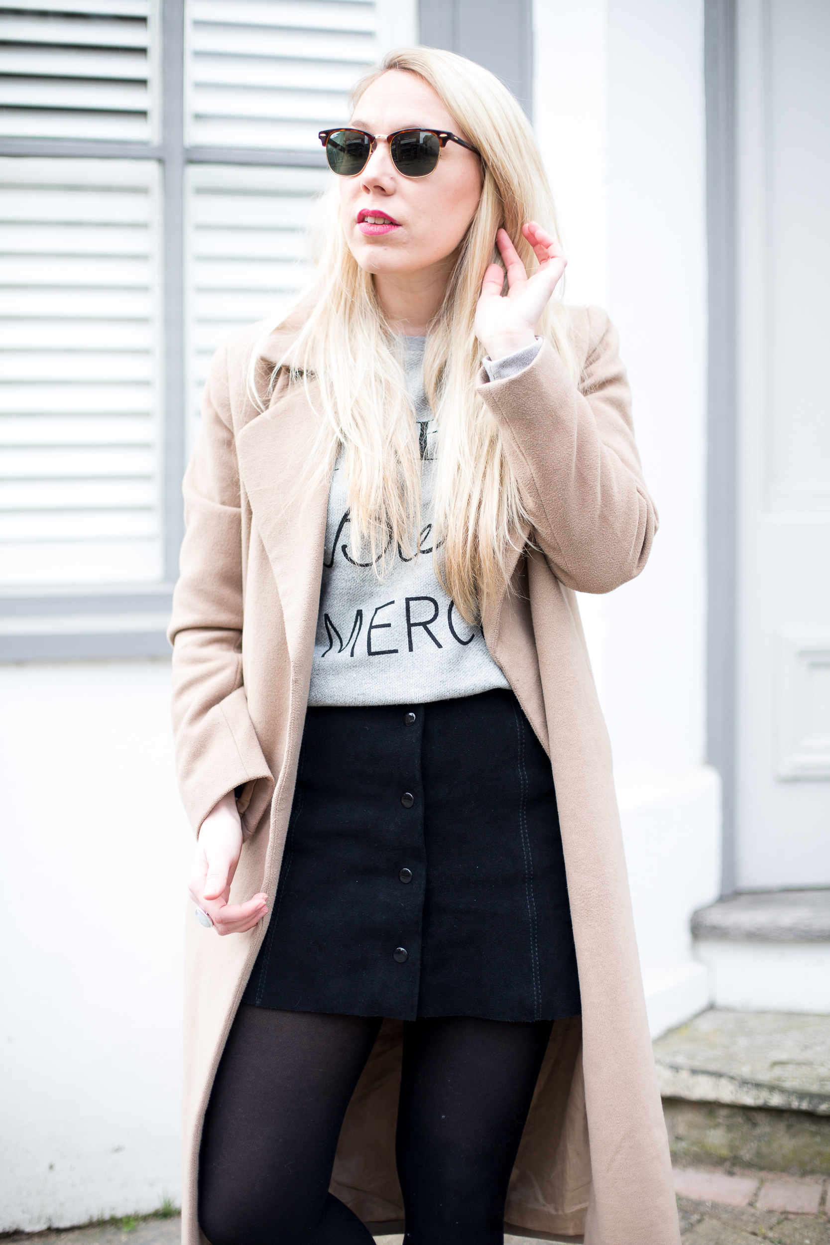 BLACK SUEDE BUTTON SKIRT - Mediamarmalade