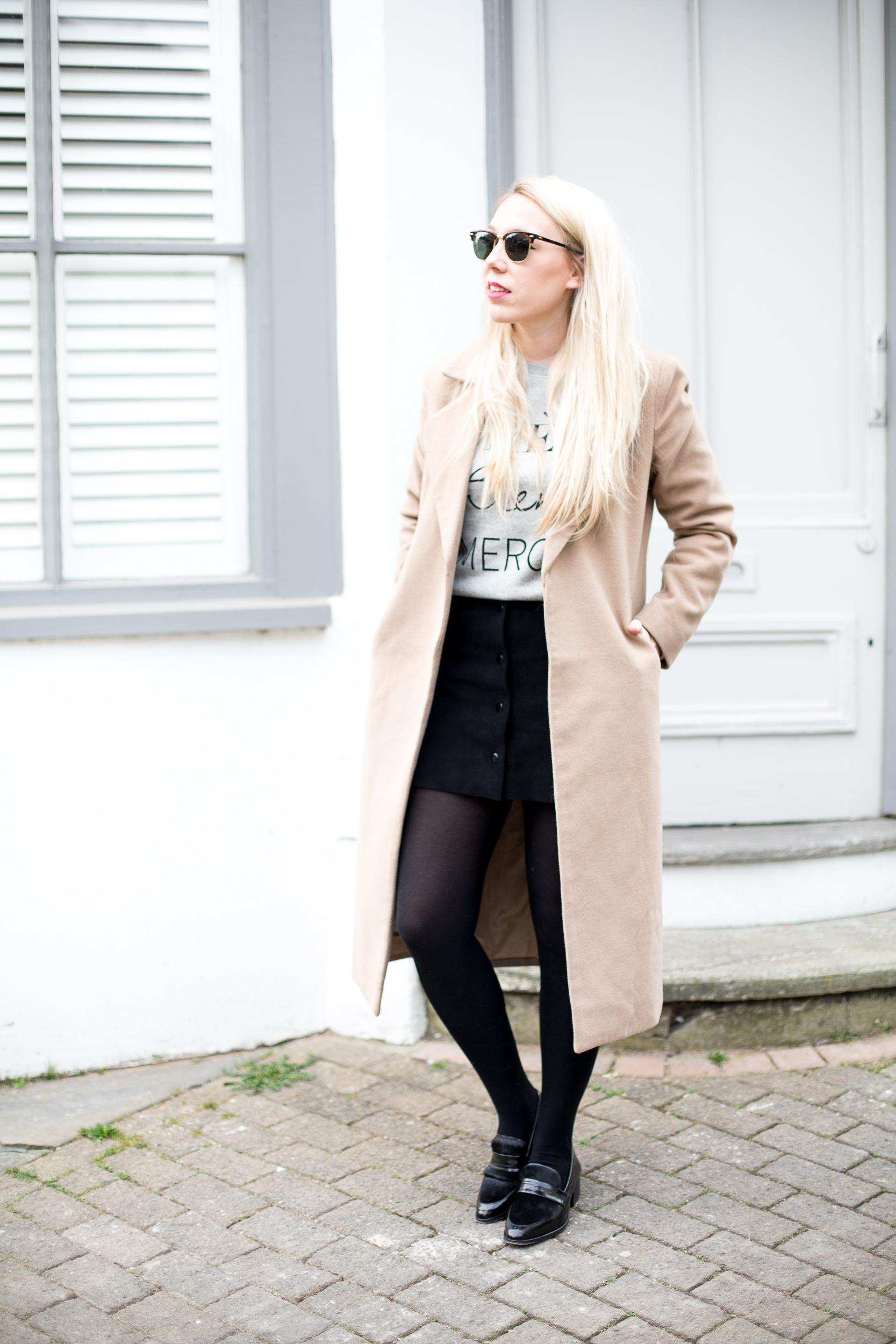Black Suede Button Skirt