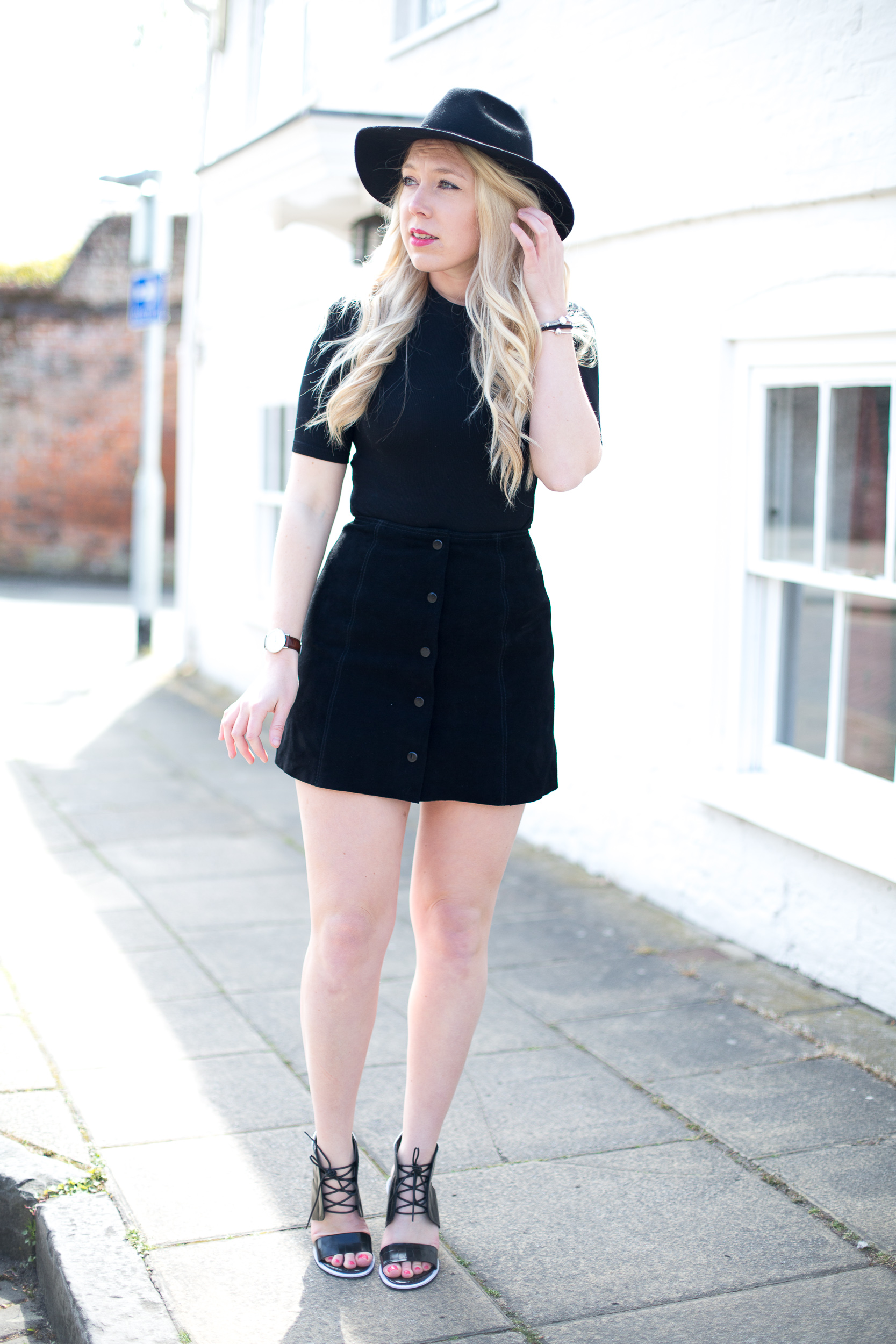 Topshop black suede skirt