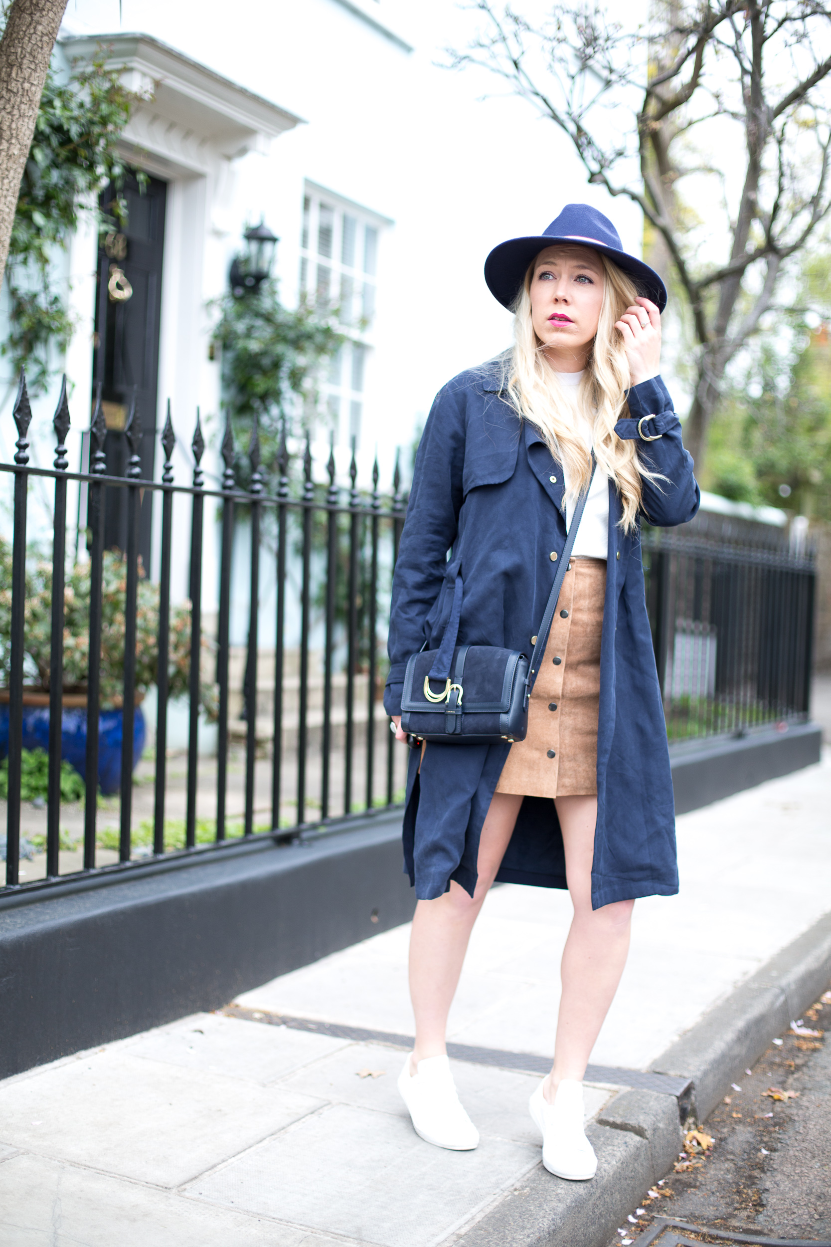 Suede Skirt & Trench Coat