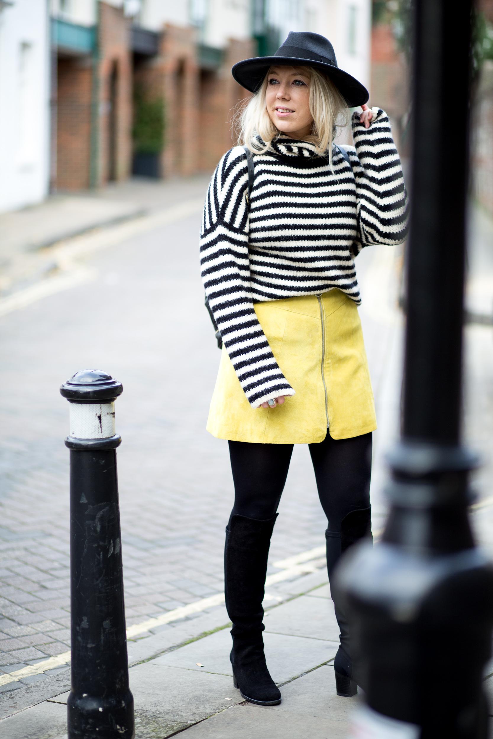 Mediamarmalade Yellow Suede Skirt