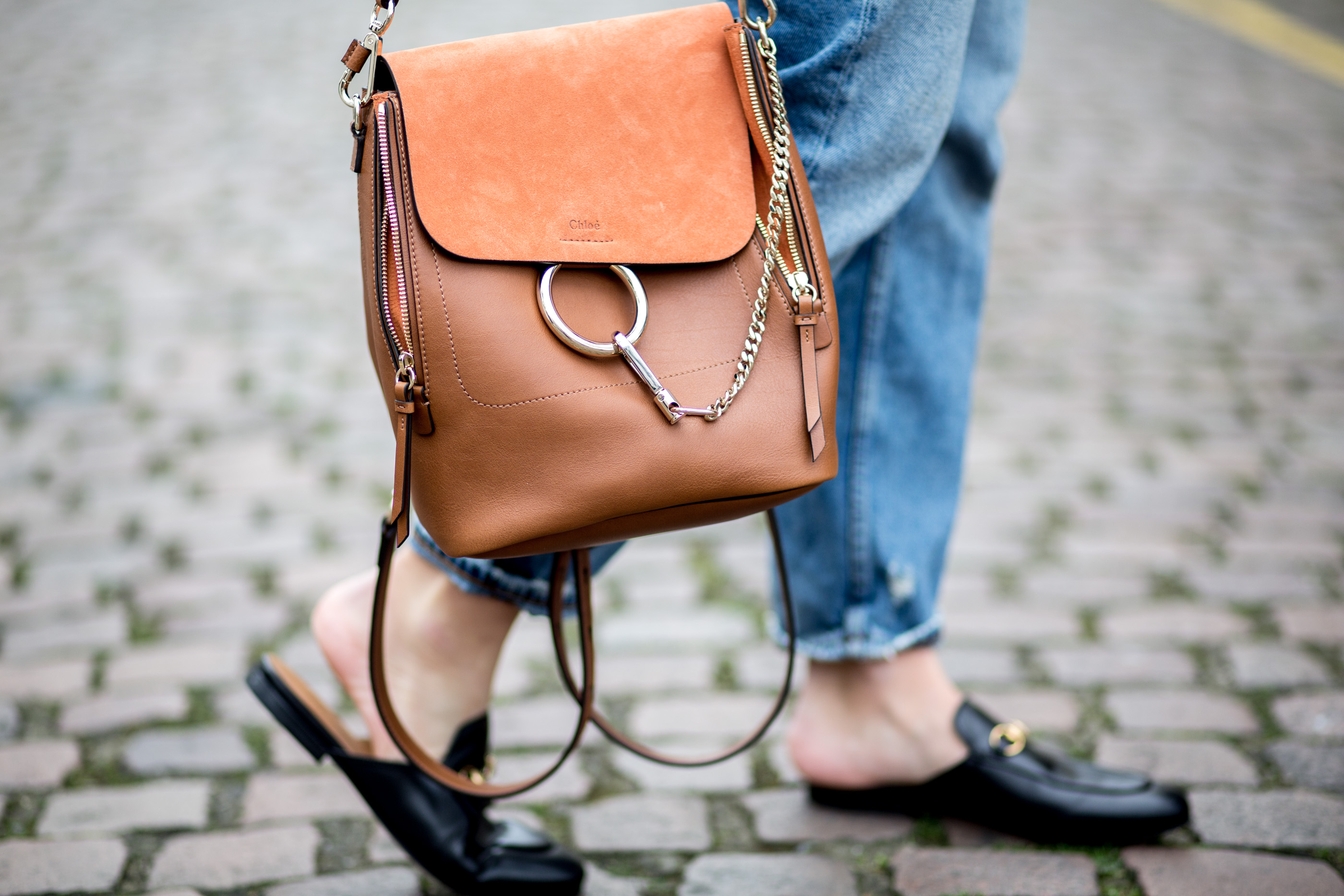 mediamarmalade | chloe faye backpack | whistles suede jacket | gucci princetown loafers